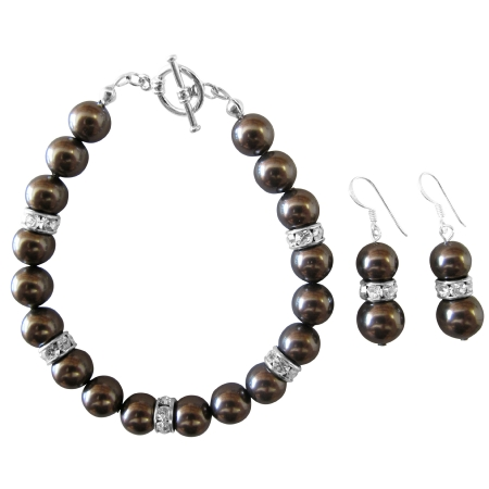 Darkest Brown Chocolate Pearl Bracelet & Earrings Set Exclusive Wedding Brown Bracelet & Earrings Jewelry