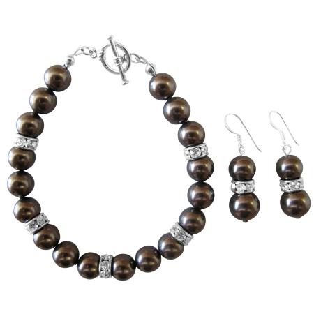 Darkest Brown Chocolate Pearl Bracelet & Earrings Set Exclusive Wedding Brown Bracelet & Earrings Jewelry