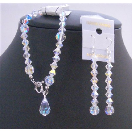 Bridal Bridemaids AB Crystal Teardrop Bracelet AB Crystals Bracelet And Earrings