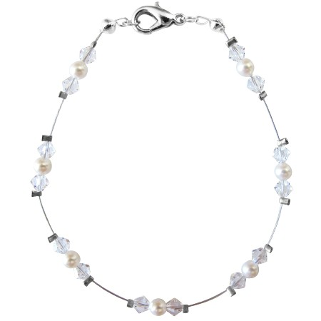 White Pearls Clear Crystals Wire Bracelet Bracelet