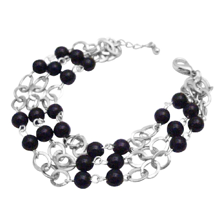 Black Pearls Cubic Zircon Stud Three Stranded Fashionable Bracelet