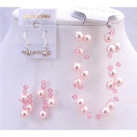 Rose Pearls Pale Pink Crystal Two Stranded Bracelet Earrings