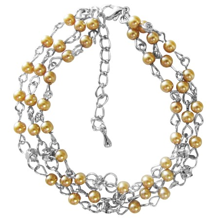 Three stranded Bracelet Gold Pearls Cubic Zircon Stud Spacer Bracelet