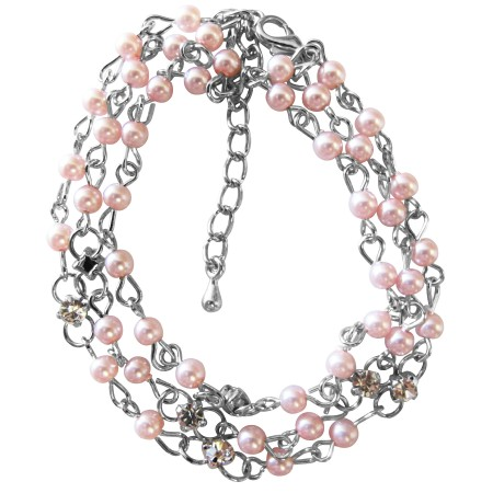 Rose Pink Pearls Three Stranded Simulated Diamond Bridesmaid Bracelet