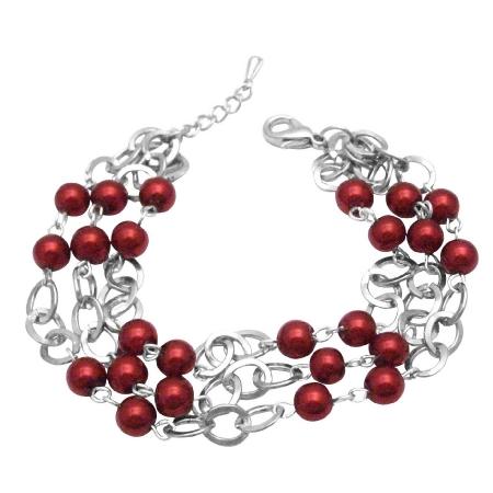 Red Pearls Bracelet Three Stranded Simulated Diamond Wedding Bracelet