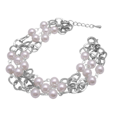 Soothing White Pearls Striking w/ cubic Zircon Gorgeous Sleek Bracelet