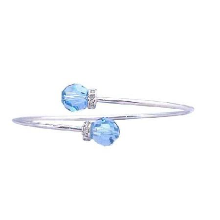 Aquamarine Crystals Cuff Bracelet w/ Silver Sparkle Rondells