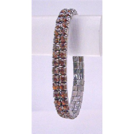 Darkest Brown Stretchable Bracelet Smoked Topaz Cubic Zircon Bracelet