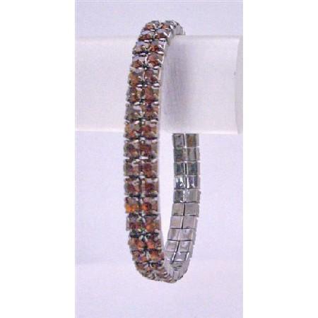 Darkest Brown Stretchable Bracelet Smoked Topaz Cubic Zircon Bracelet
