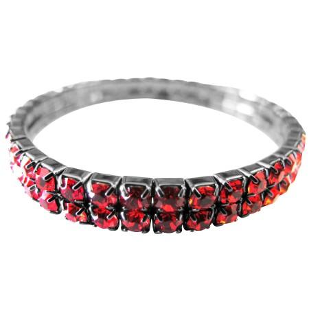 Cubic Zircon Passionate Red Comfortable Wear Stretchable Bracelet