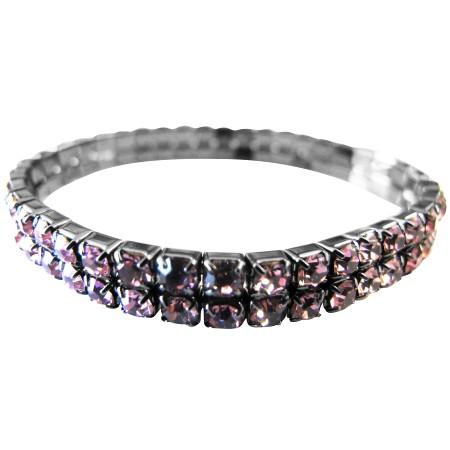 Lite Amethyst Sparkling Stretchable Bracelet Double Stranded Bracelet