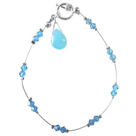 Wedding Party Jewelry Aquamarine Crystals Glass Bead Teardrop Bracelet