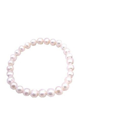 Wedding Flower Girl Jewelry Freshwater Pearls Stetchable Bracelet