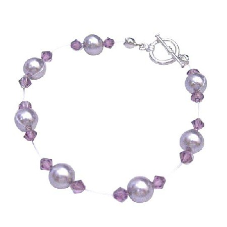 Cheap Mauve Pearls w/ Amethyst Crystals Bridesmaid Bracelet