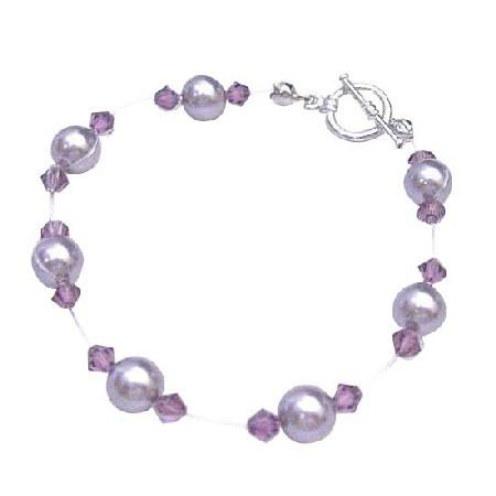 Cheap Mauve Pearls w/ Amethyst Crystals Bridesmaid Bracelet