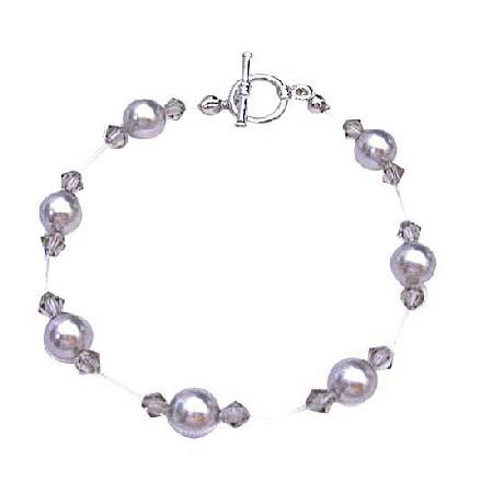 Grey Pearls Bracelet Jewelry Black Diamond Crystals Bracelet
