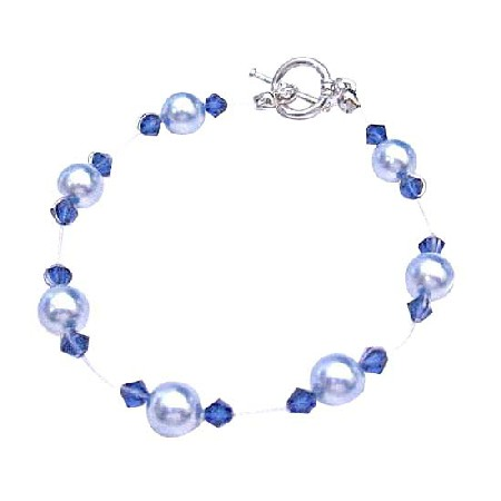 Prom Bracelet Lite Blue Pearl Sapphire Crystal Cheap Jewelry