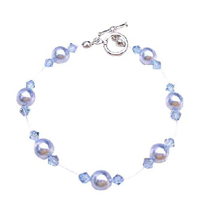 Bridesmaid Wedding Aqumarine Pearls Crystals Inexpensive Bracelet