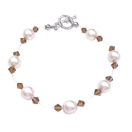 Flower Girl Jewelry Ivory Pearls Smoked Topaz Crystals Bracelet