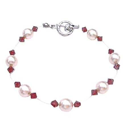 Cheap Wedding Jewelry Ivory Pearls & Siam Red Crystals