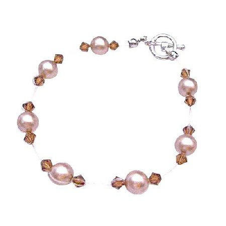 Champagne Pearls Wedding Jewelry Inexpensive Brown Crystals