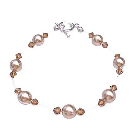 Classy Wedding Jewelry Bronze Pearls & Smoked Topaz Crystals