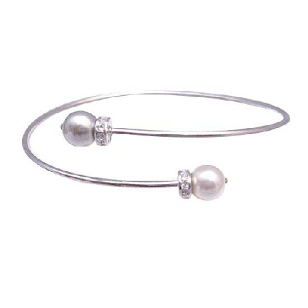 Affordable Wedding Silver Cuff White & Grey Pearls Bracelet