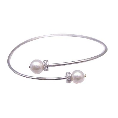 Cuff Silver Bracelet w/ White Pearls Spacer Silver Rondells