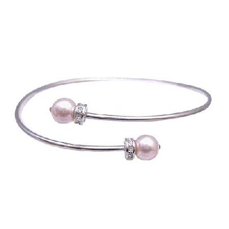 Rose Pearls Silver Cuff Comfortable Bracelet Diamante Spacer