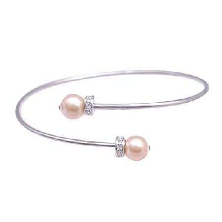 Peach Pearls Simulated Diamond Spacer Flower Girl Prom Cuff Bracelet