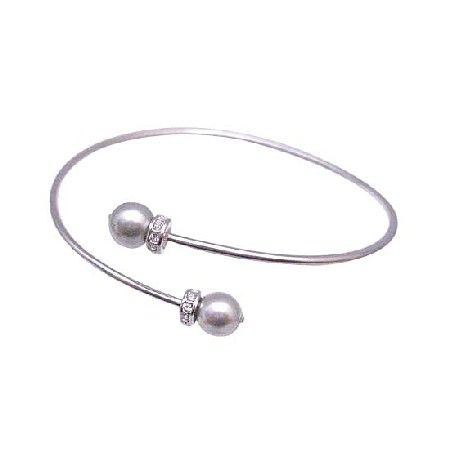 Grey Pearl Dainty Sophisticate Diamante Spacer Cuff Bracelet