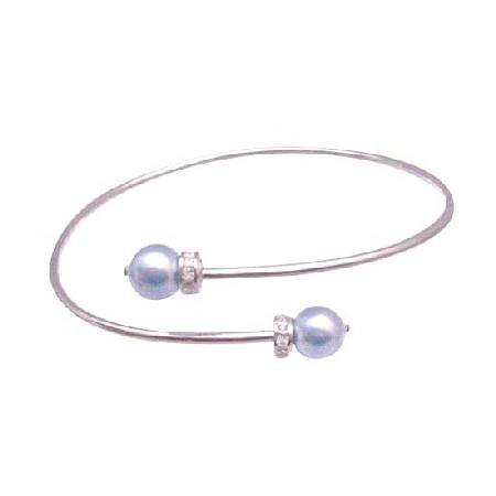 Cheap Bridesmaid Jeewelry Cuff Silver Bracelet w/ Lite Blue Pearls