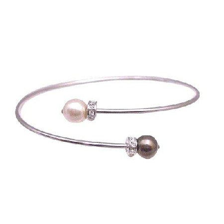 Champagne & Brown Pearls Cuff Braceelet Cheap Wedding Jewelry Bracelet