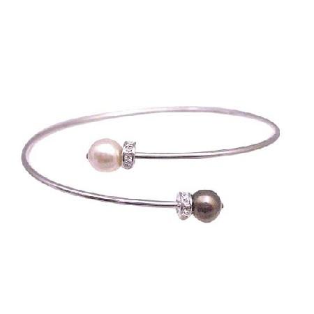 Champagne & Brown Pearls Cuff Braceelet Cheap Wedding Jewelry Bracelet