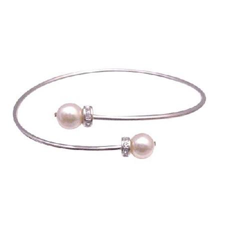 Bridal Cuff Bracelet Ivory Pearls Gold Pearls Wrist Bracelet