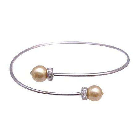 Wedding Silver Gold Pearls Comfortable Adjustable Bracelet