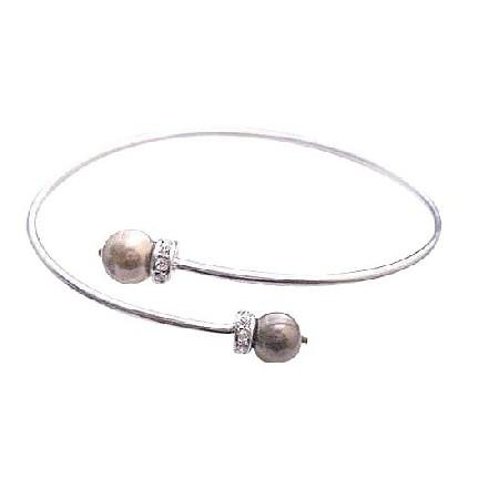 Cheap Fashionable Wedding Comfortable Pearl Bronze Brown Cuff Bracelet