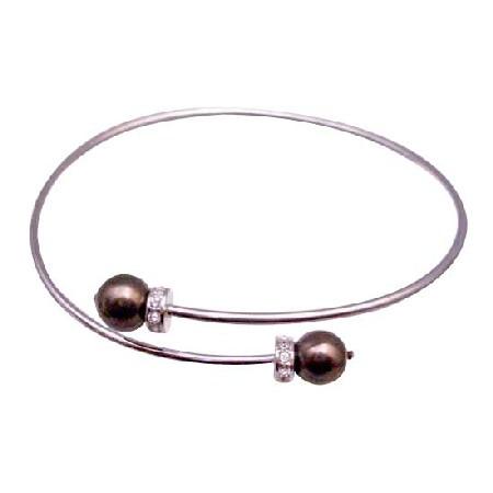 Chocolate Brown Pearls Wedding Bridal Bridesmaid Affordable Bracelet