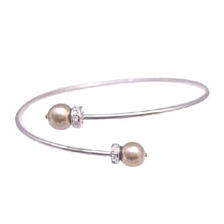 Prom Bronze Dress Jewelry Flower Girl Bronze Pearls Bracelet