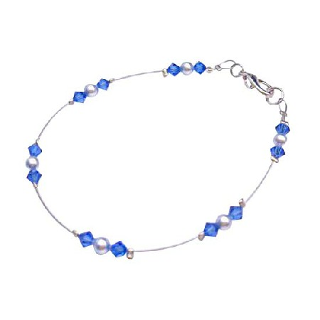 Lover Jewelry Lite Blue Pearls w/ Sapphire Crystals Wire Bracelet