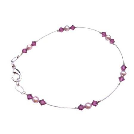 Fuchsia Crystals Lobster Clasp Bracelet Rose Pearls Bridal Bracelet