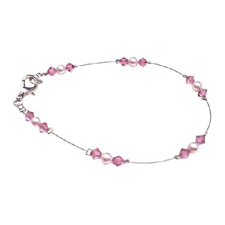 Bridesmaid Rose Pearls Rose Crystals Prom Jewelry Bracelet