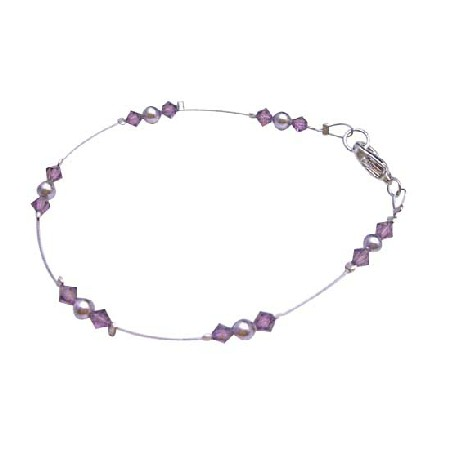 Fashionable Affordable Mauve Purple Pearls Amethyst Crystals Bracelet