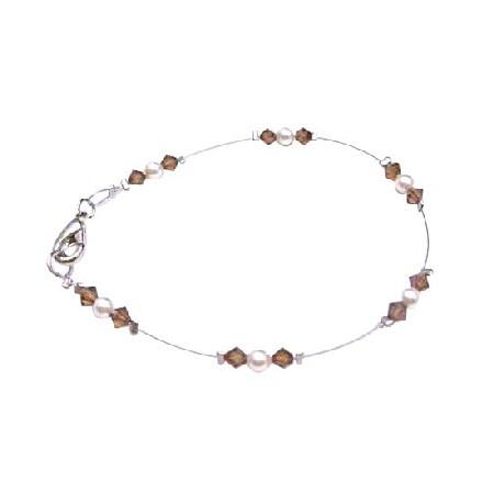 Prom Jewelry Ivory Pearls Smoked Topaz Lobster Clasp Bracelet