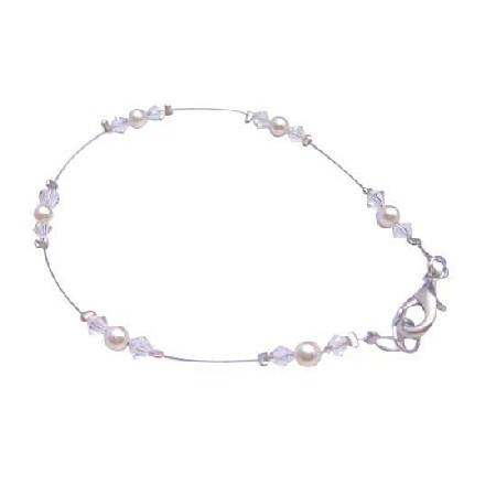 Ivory Pearls Clear Crystals Matching Bracelet Prom Jewelry