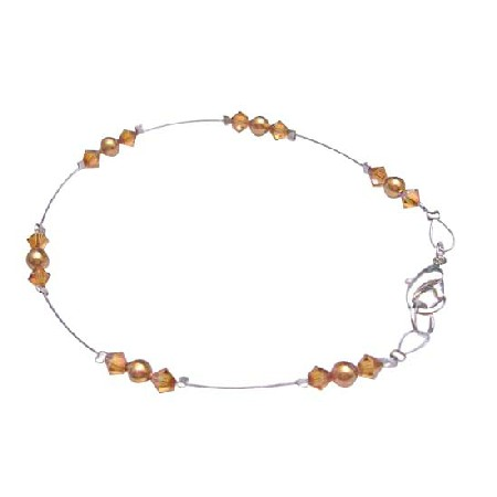 Copper Pearls & Copper Crystals Lobster Clasp Wire Bracelet