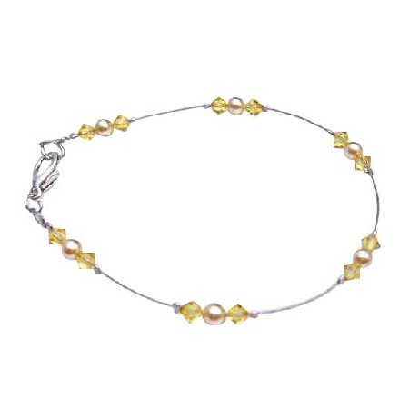 Gold Pearls & Citrine Crystals Dainty Unique Combo Bracelet