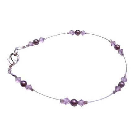 Burgundy Pearls Lite Amethyst Crystals Bridesmaid Flower Girl Bracelet