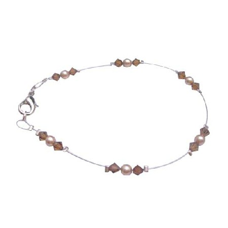 Wedding Bronze Pearls Brown Crystals Jewelry Lover Bracelet