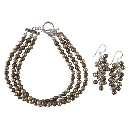 Wedding Bronze Brown Combo Pearls Three Stranded Bracelet